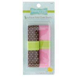 Babyville Boutique Fold Over Elastic Brown/Pink
