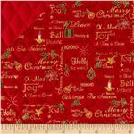0286557 Celebrate the Season Double Sided Quilted Words Red