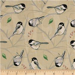 Chickadee Large Bird And Vine Tan