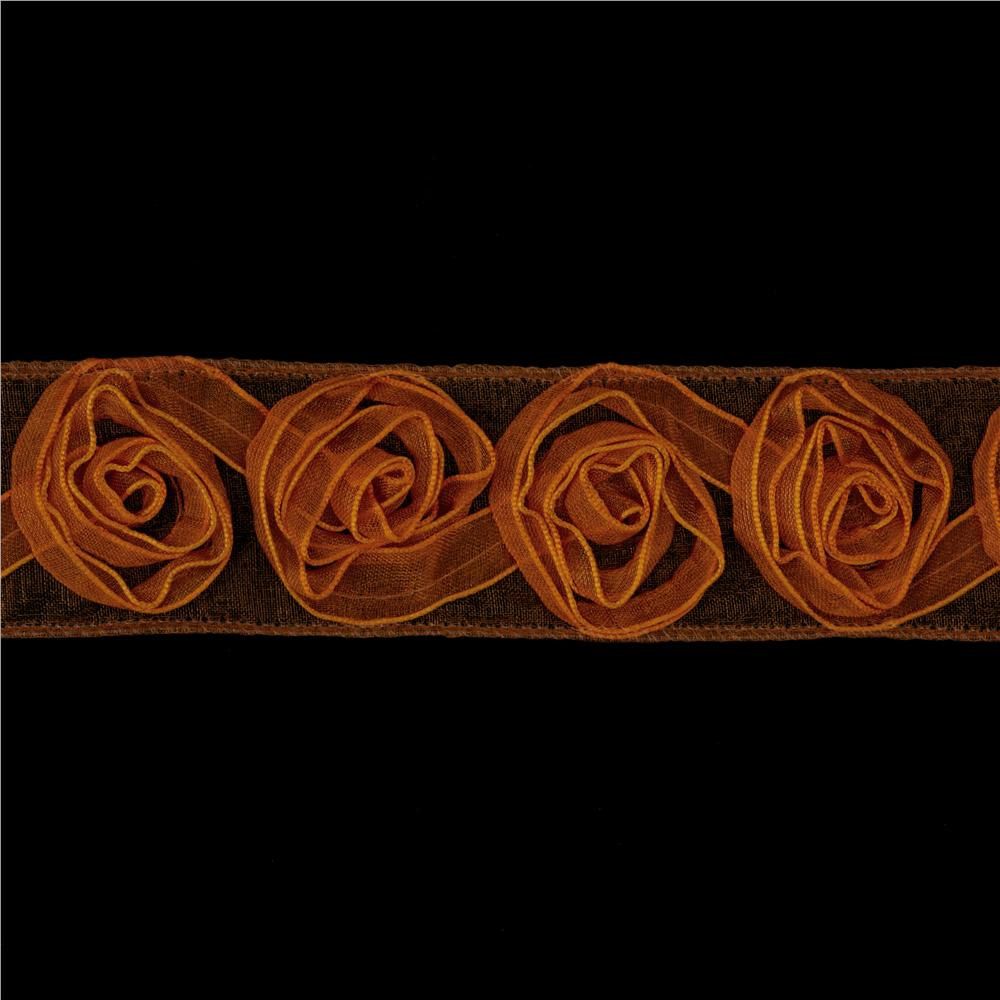 1 1/2&#39;&#39; Organza Rosette Ribbon Orange
