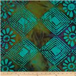 0269840 Indian Batik Floral Diamonds Neon Turquoise