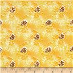 0279294 Madeline Shirting Tossed Leaves Toffee/Yellow