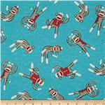 0271326 Socky Tossed Monkeys Teal