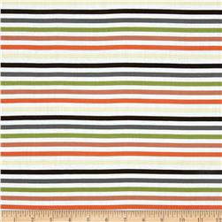 Stretch Cotton Lawn Stripes Orange/Green