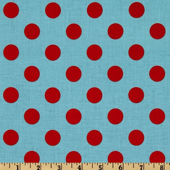 Riley Blake Dots Medium Aqua/Red