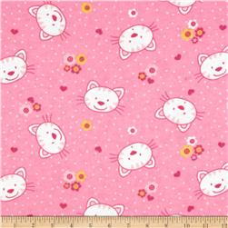 Camelot Flannel Kitty Pink