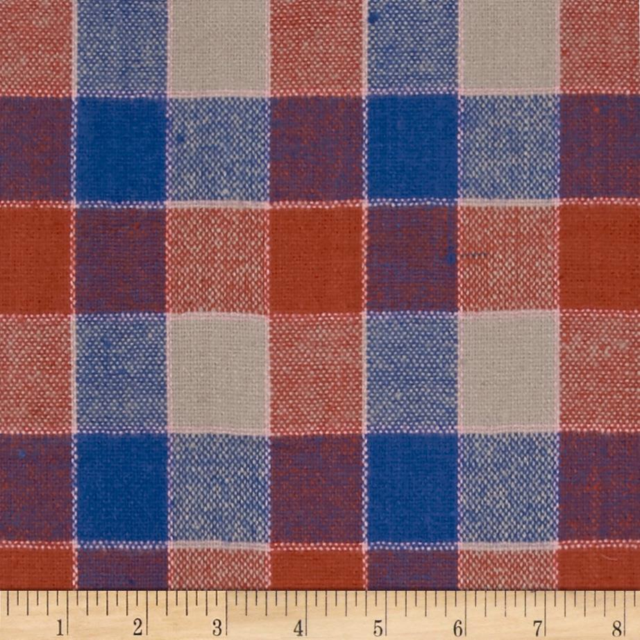 Designer Yarn Dyed Flannel Plaid Orange/Cobalt