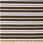 Designer Stretch Rayon Blend Jersey Knit Stripe Stripes Brown/White