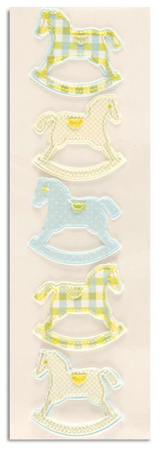 Martha Stewart Crafts Fabric Rocking Horse Stickers Blue/Green