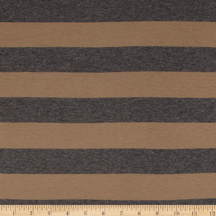 Designer Stretch Rayon Jersey Knit Stripes Tan/Grey