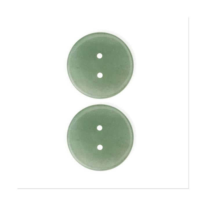 Precious Elements Stone Adventurine Button 1'' Green