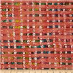 0269790 Indian Batik Plaid Bright Coral