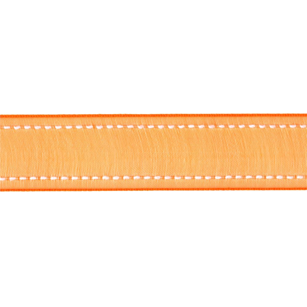 "7/8"" Sheer Stitched Edge Ribbon Orange"