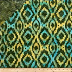 Double Sided Quilted Indian Batik Ikat Green/Multi