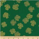 Timeless Treasures Metallic Shamrocks Green