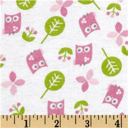 Alpine Flannel Sweet Owls Pink