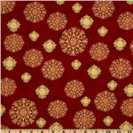 Golden Ornaments Snowflakes Garnet/Gold