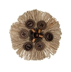Hemp Loop and Button Round Brooch