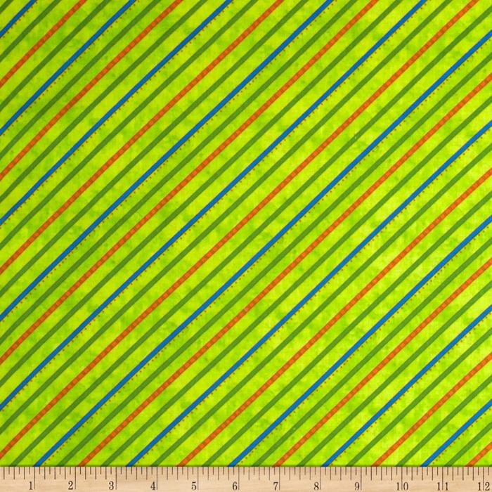Froggy Fun Diagonal Stripe Green