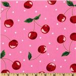 Kokka Trefle Oxford Cotton Canvas Cherries Pink