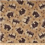 0285302 Rustic Living Moose & Bear Toss Dark Tan