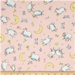 Moda Beddy Bye Flannel Counting Sheep Pink