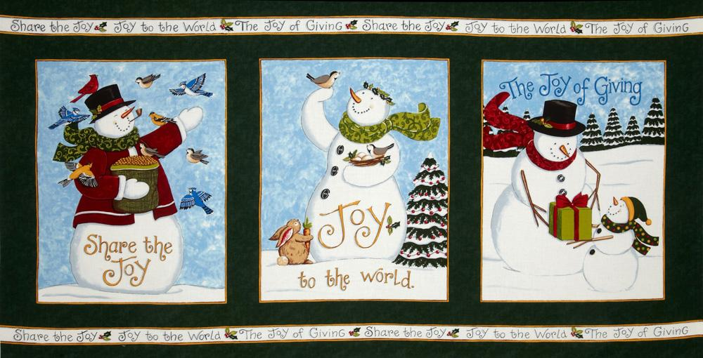 Moda Share The Joy Snowman Panel Evergreen