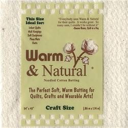 Warm & Natural Cotton Batting Craft Size
