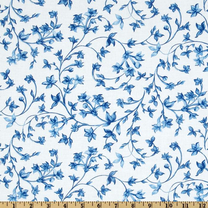 Kanvas Blue Eden Floral Vine White