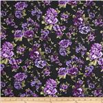 Rayon Challis Roses Purple/Black