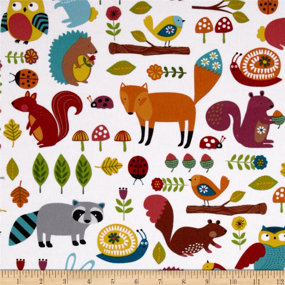 Woodland Friends Flannel Animals Allover White