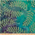 Indian Batik Fern Leaf Moss/Turquoise/Purple