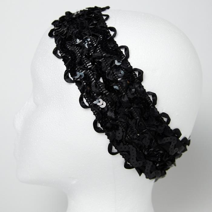 2 3/4&quot; Sequin Ruffle Ribbon Stretch Headband Black