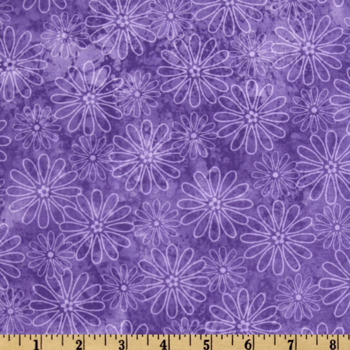 Tossed Tonal Daisies Purple