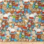 0286366 Fabri-Quilt Cuddle Flannel Cats Blue