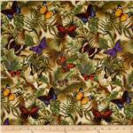 Timeless Treasures Rain Butterflies on Leaves Neutral