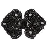 NR-2338 Beaded Double Diamond Applique Black