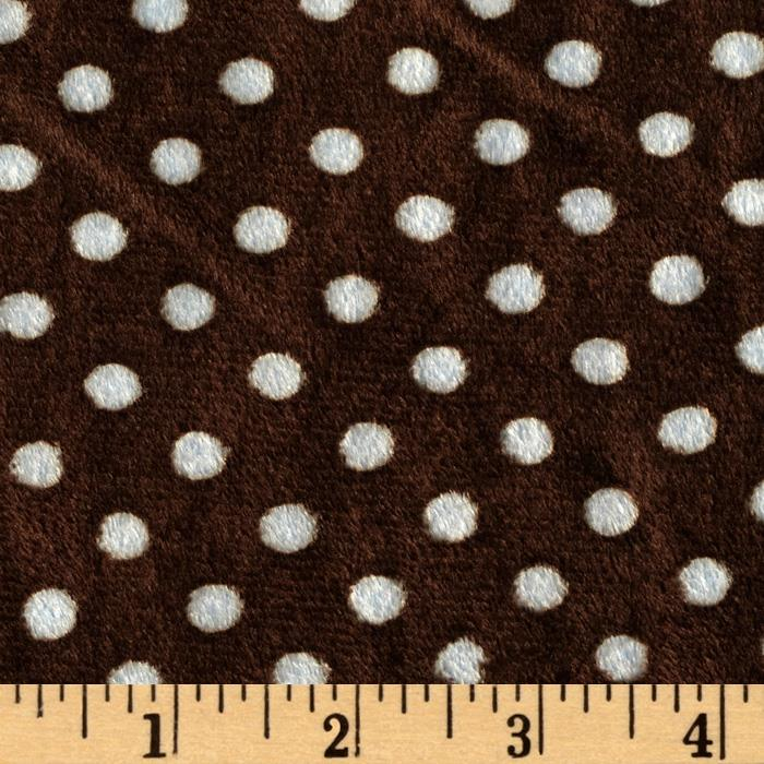 Minky Polka Dots Small Brown/Light Blue
