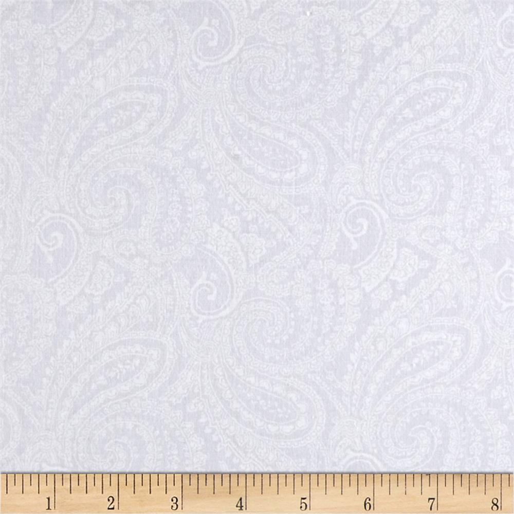 "108"" Quilt Backing Paisley White on White"