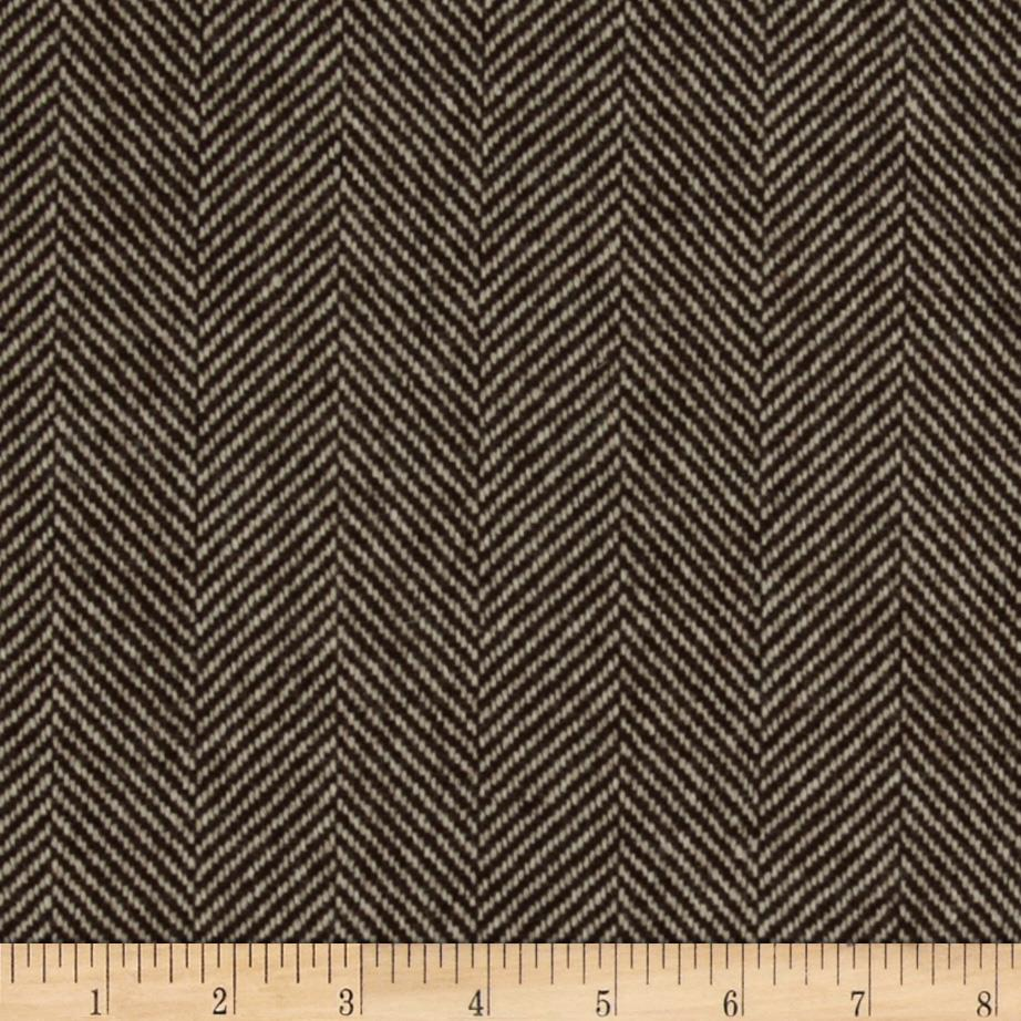 Wool Blend Coating Herringbone Brown/Ivory