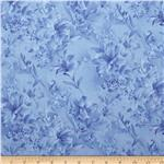 0284561 118&quot; Wide Day Lily Quilt Backing Floral Blue