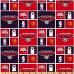 NBA Cotton Broadcloth Atlanta Hawks Red/Black
