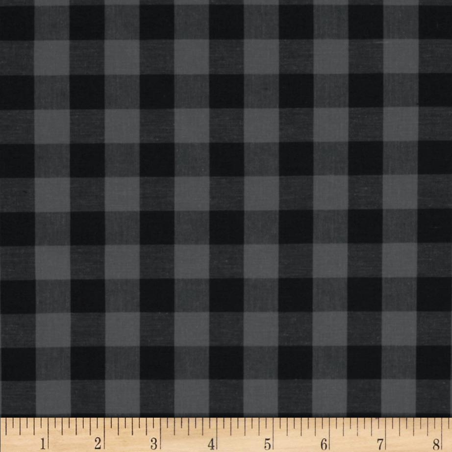 Stretch Yarn Dyed Shirting Check Grey/Black