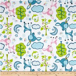 Flannel Forest Animals White