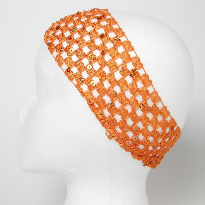 "2 3/4"" Sequin Stretch Crochet Headband Orange"