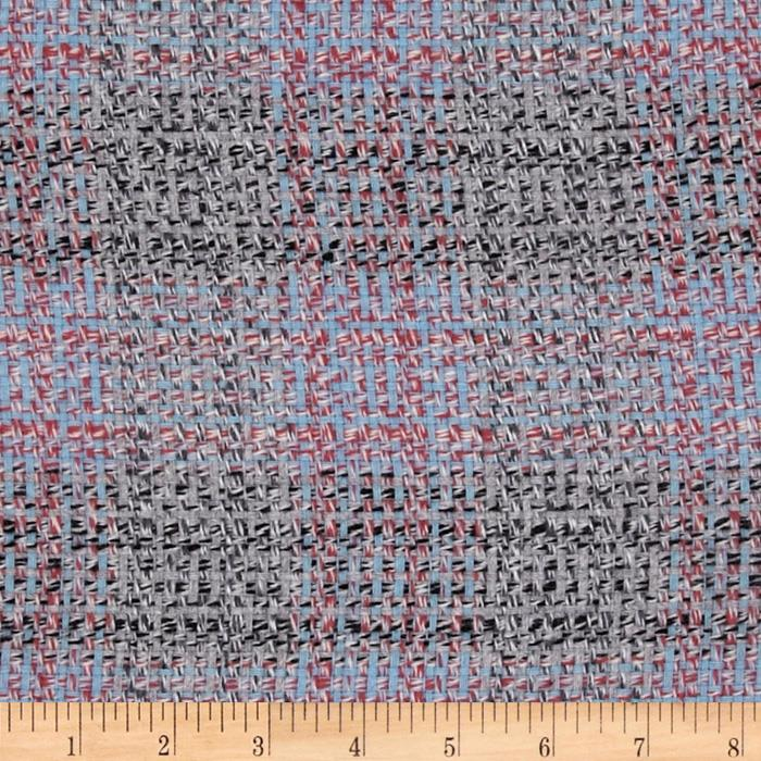 Wool Blend Coating Chunky Plaid Grey/Pastel