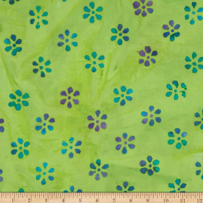 Indian Batik Mini Floral Turquoise/Purple/Green