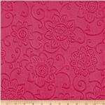 Minky Cuddle Spice Market Embossed Flower Fuchsia