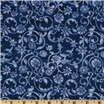 108'' Tonal Scroll Quilt Backing Blue