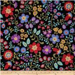 234732 Folk Song Folkart Floral Black